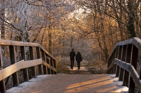 Winter walk: Couple walking over a bridge in a winter setting