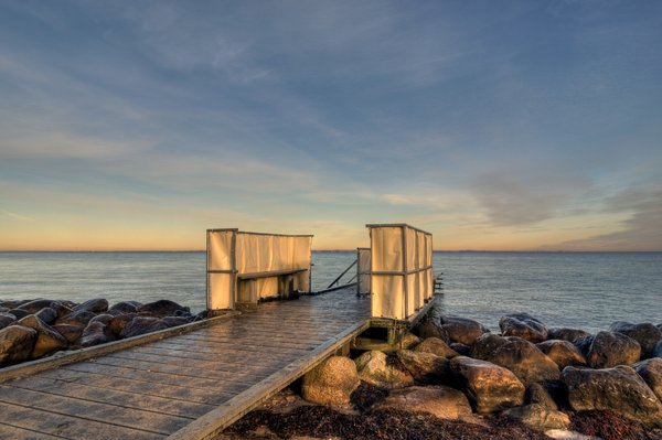 Peer - HDR: A  small peer leading into Oeresund, between Denmark and Sweden. The picture is HDR using seven images.