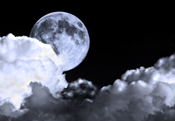 Night Sky 2: Full moon in a cloudy night sky