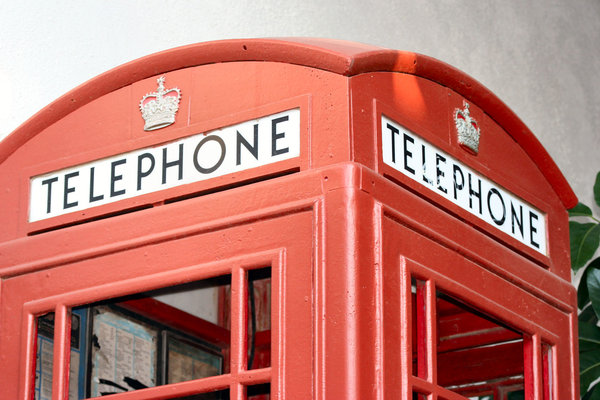 Telehone Booth: Old time telephone booth at the Boardwalk in Kemah, Texas