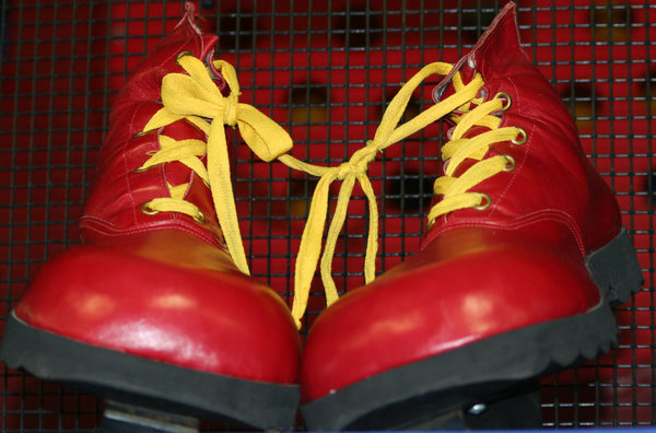 Red Shoes: Red shoes with yellow strings