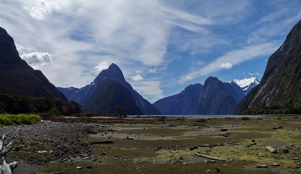 Milford Sound 4: Milford Sound at low tide. December 31, 2006.