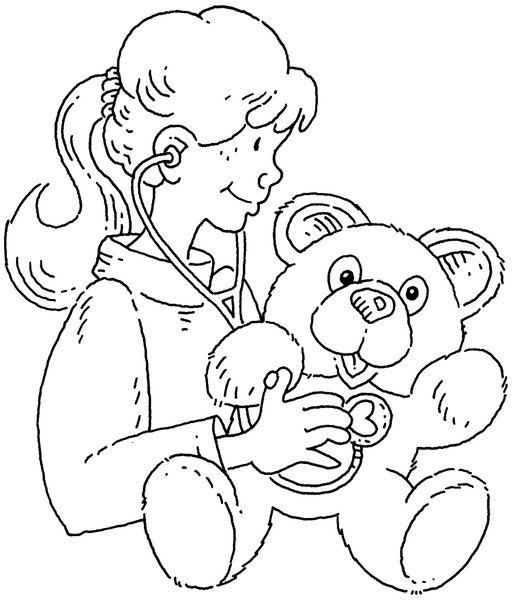 teddy bear: Cartoon illustration of a girl with a teddy bear.Please visit my stockxpert gallery:http://www.stockxpert.com ..