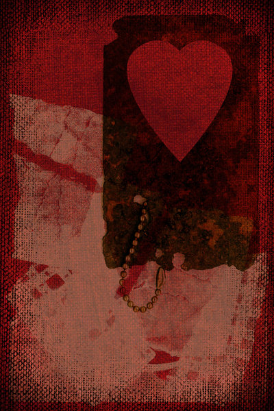 Heart Tag: A rusty heart tag on canvas.Please visit my stockxpert gallery:http://www.stockxpert.com ..