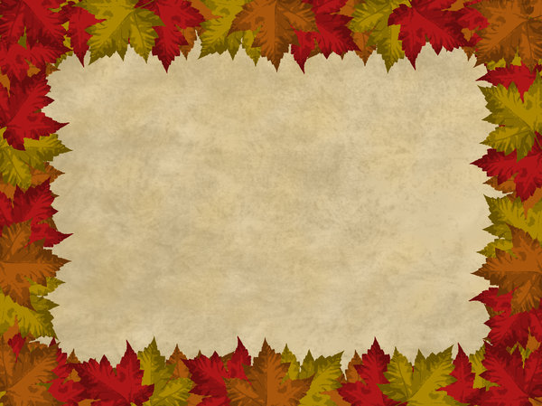 Autumn Leaves Border 2: Autumn leaves border on a parchment background.  Lots of copyspace.