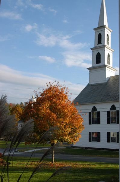 First Congregational Church of: Newfane church from the door of the Four Columns Inn