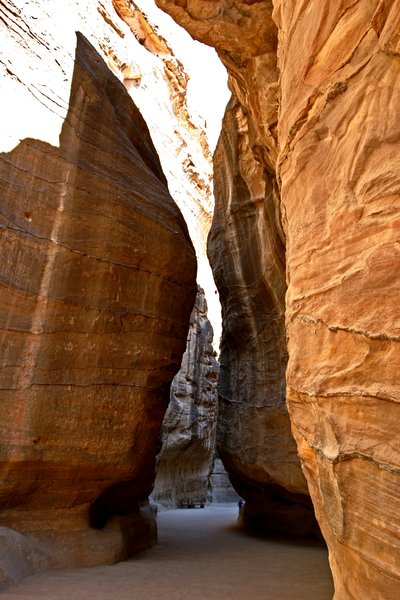 Siq 1: Different prospective of Siq in Petra (Jordan)