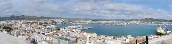 Ibiza Old Town: Caught this amazing scene in Ibiza and panned accross to get a long picture of the whole city. Shows a good cross section of modern and old towns together.