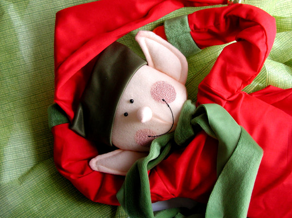 Prepare yourself for Christmas: An elf caught  when taking a rest before Christmas time