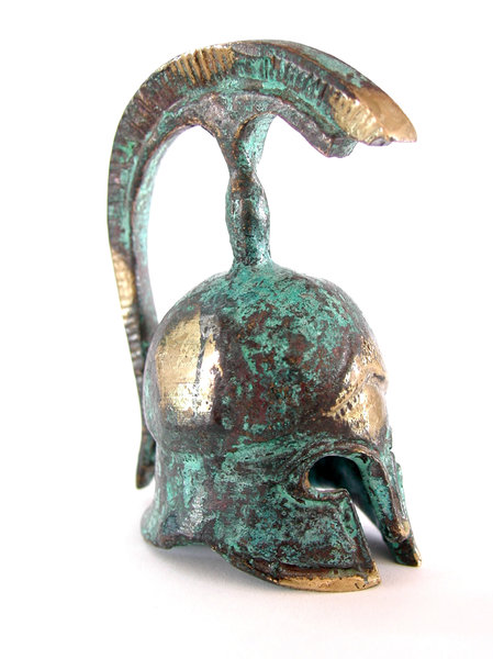 Greek helmet 4: We found this 5 cms helmet at a local workshop of the beautiful greek island called Hydra.