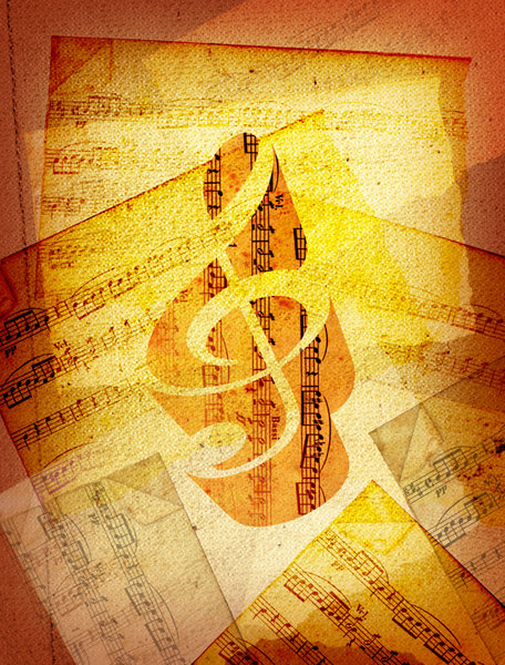 Sheet Music: A vintage sheet music collage.Please visit my Stockxpert gallery for a larger image:http://www.stockxpert.com ..