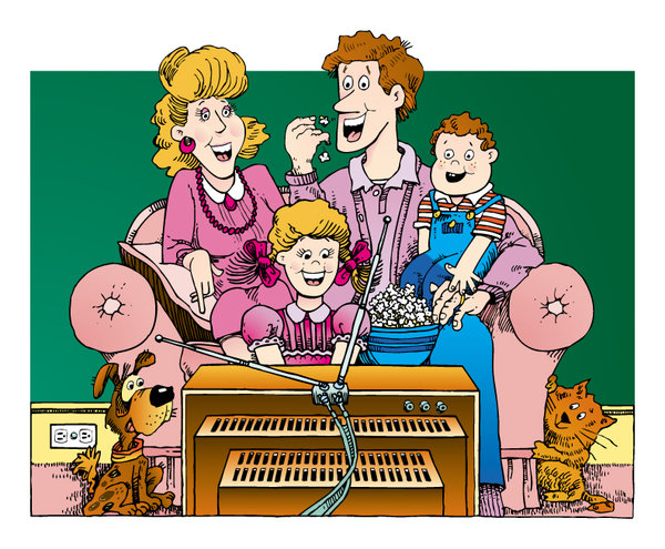 Family Time: Retro Cartoon Family.http://www.stockxpert.com ..
