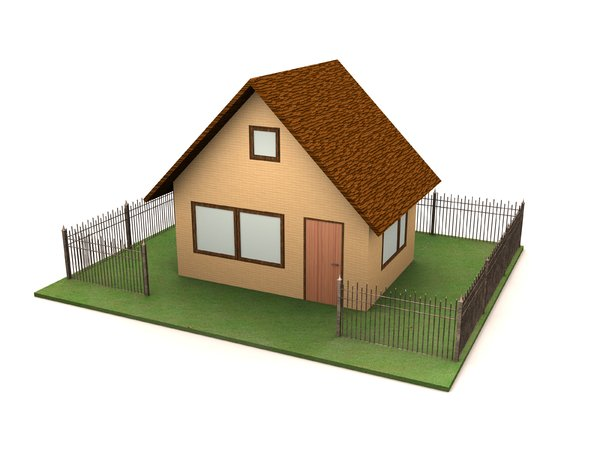 House: A simple house on a white background with a fence around it