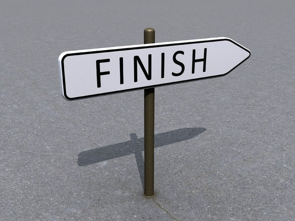 Finish direction: An abstract picture of a finish direction sign.