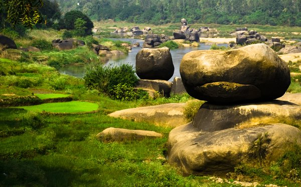 Hampi Rocks: A landscape at Hampi, North Karnataka, India