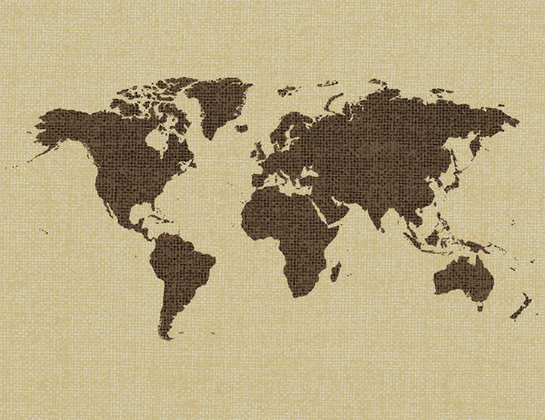 Hessian Map: Map on hesian textured background.