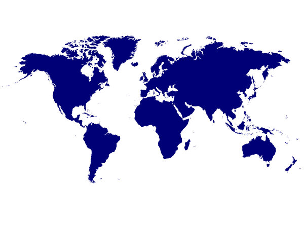 No Frills World Map: No frills world map.  Blue over white.