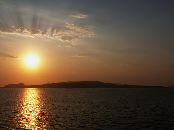 Sunset: sunset over Aegean sea, close to santorini
