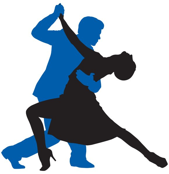 Tango Couple Silhouette: Vector Art