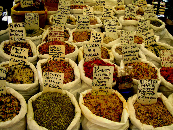 risotto: different sorts of risotto at a market place in Vicenca/Italy