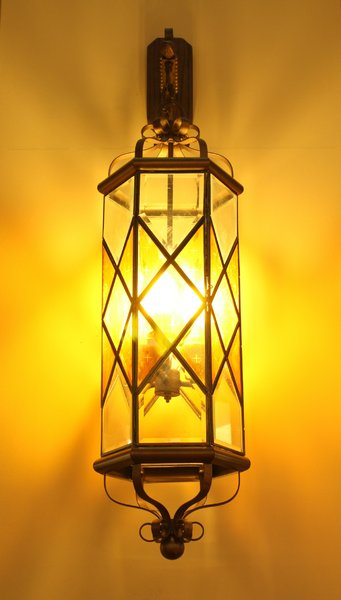 Wall Lamp With A Golden Glow 2: A beautiful wall lamp with a golden yellow glow