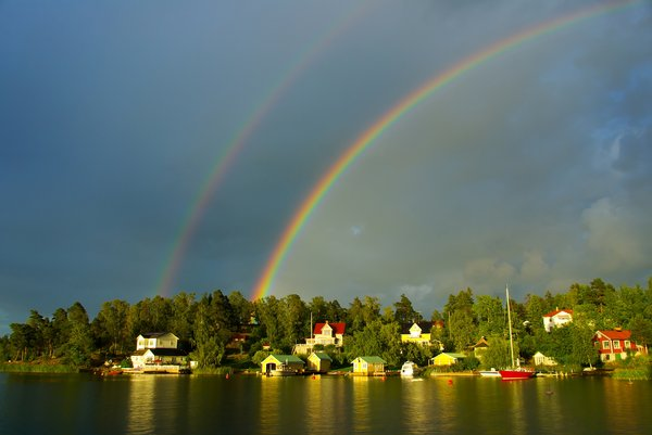 Double rainbow: Primary and secondary rainbows, summer 2008