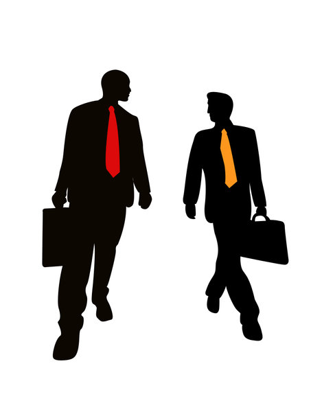 Business Men-silhouette: Business friends on a walk.