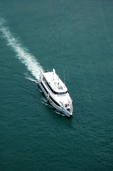 Cruiser: A luxury cruiser passing under our cableway in Singapore.NB: Credit to read