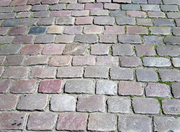cobbled pavement: cobbled pavement
