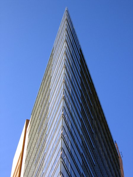 triangle office tower: This triangle office tower can be found on the Potsdamer Platz in Berlin, Germany.