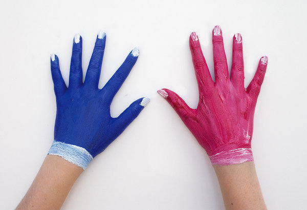 Coloured Hands: My daughter Zoe with pink and blue painted hands