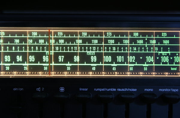 radio close-up: backlit frequencies on an old-fashioned radio