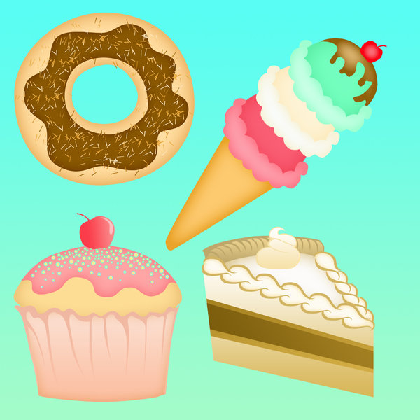 desserts!: visit my site ozaidesigns.com for more of my free illustrations!cake, ice cream, and more desserts. **If you download this for online use, dont give me credit but DO send a link, I love to see how my work is used!