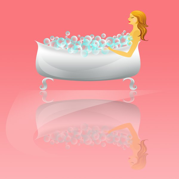 Taking a bubble bath: visit my site ozaidesigns.com for more of my free illustrations!A woman taking a bubble bath. *If you use my images for online use, please send me a link! :)