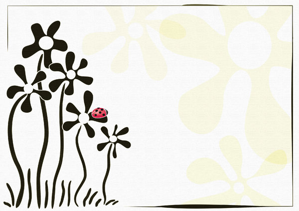 flowers and the ladybird: card with a light background color