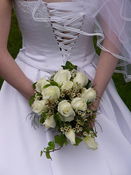 Pure White: back view of my friend's wedding dress and flowers