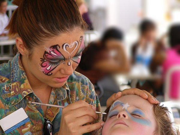 Face Painter: Face painted face painter painting a face