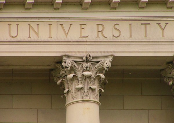 University Pillar: Pillar at University Hall of Acadia University, Wolfville, Nova Scotia, Canada