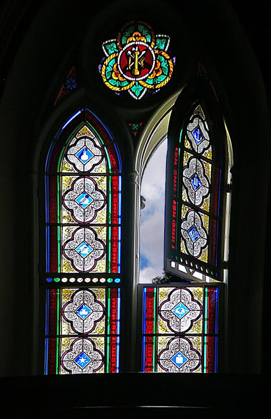 Window of Hope: Open window in a church in downtown Ottawa, Canada