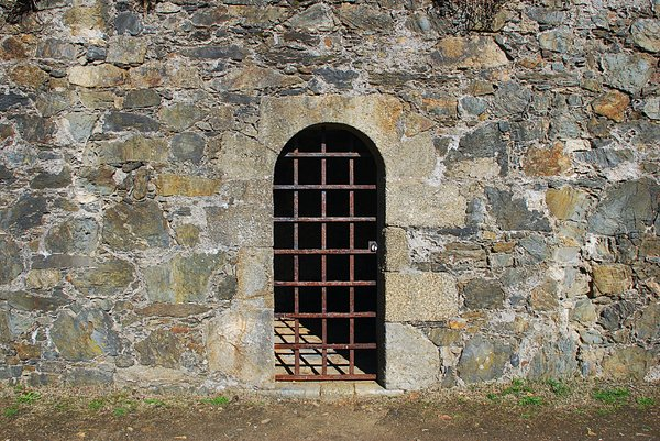 Barred door: Barred door and window
