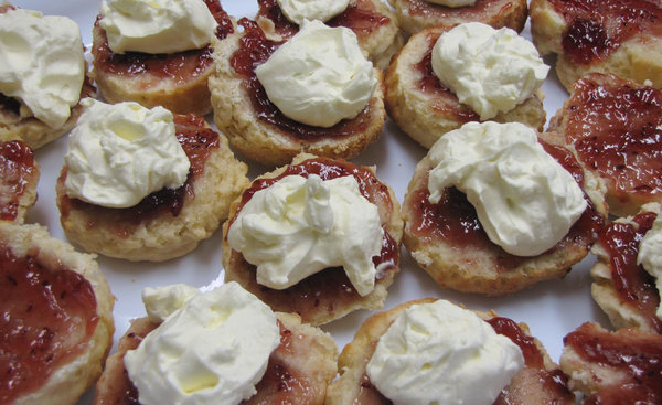 jam and cream scones: jam and cream scones