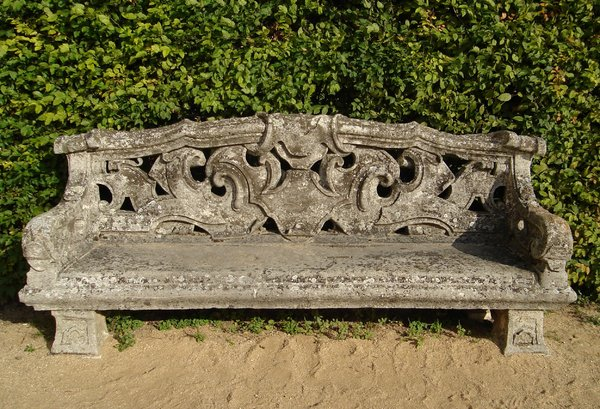 Stone park bench: stone bench in a park - please take a sit, relax ;-)