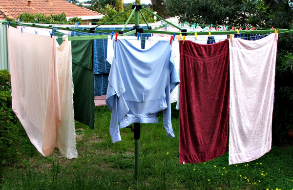 washing day: washing hanging out to dry - clothes drying - in Australia