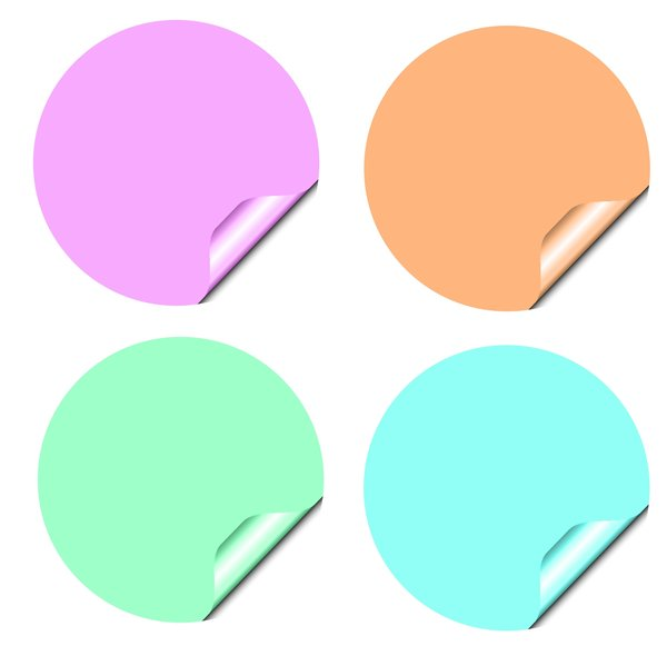 Stickers 2 Circles: Round stickers with a lifted edge, in pastel colours. Copyspace for your pricing, message or announcement. May be used as web buttons.