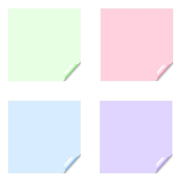 Stickers 8 Squares: Square stickers with a lifted edge, in pastel colours. Copyspace for your pricing, message or announcement. May be used as web buttons.