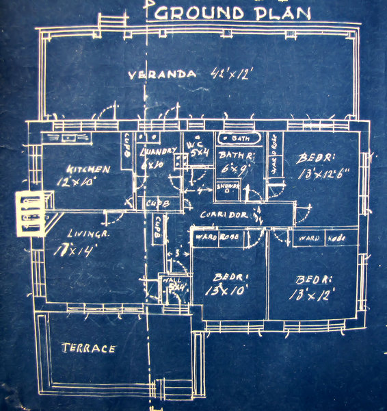 House plan blueprint old faded architectural house plans blue print