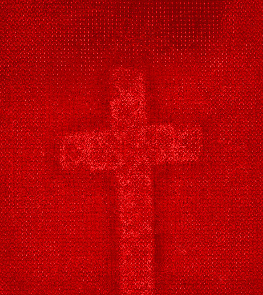 Red Cross: A fabric texture with a red cross.