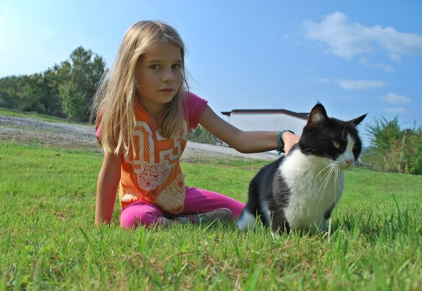Girl with cat outdoor: Child girl with cat outdoor.