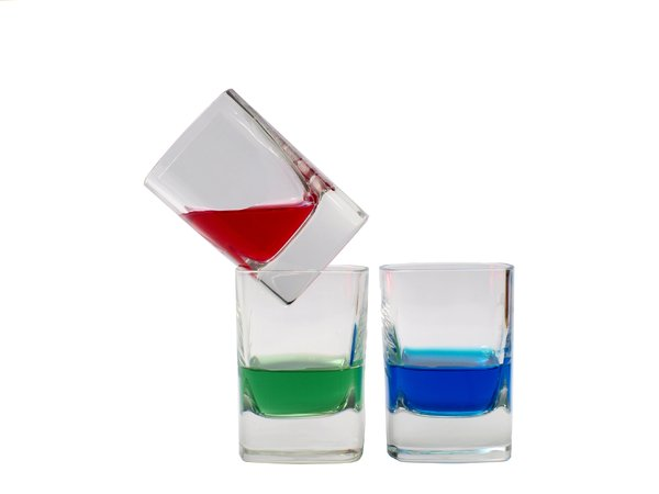 RGB - shootglass: Red, green and blue fluid in each shootglass.