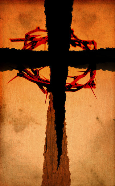 Torn Cross 6: Variations on a grungy cross made from torn paper.